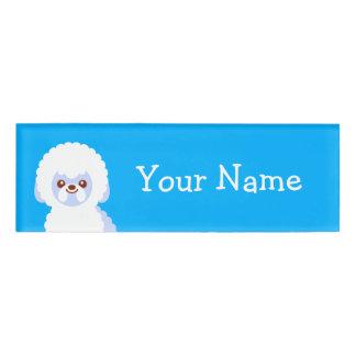 Minimalist Bichon Frise Kawaii Dog Cartoon Name Tag