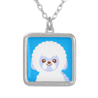 Minimalist Bichon Frise Kawaii Dog Cartoon Silver Plated Necklace