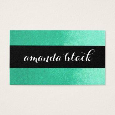 Professional Business Minimalist Black and Aqua Business Card