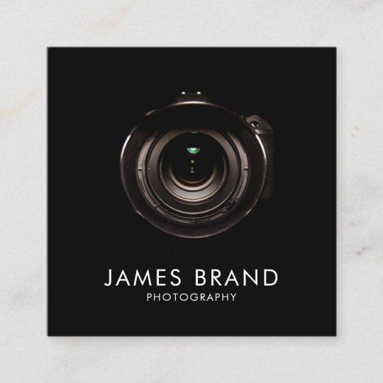 minimalist black and white photography square business card zazzle com