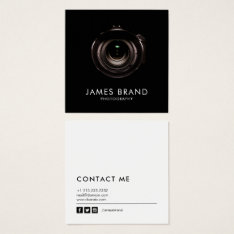 Minimalist Black And White Photography Square Business Card at Zazzle