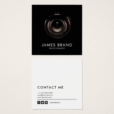 J32Design Minimalist Black and White Photography Square Business Card