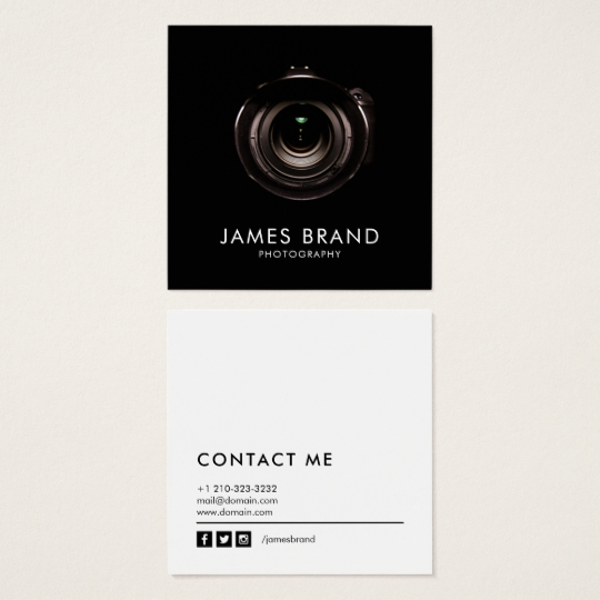 Famoso Minimalist Black and White Photography Square Business Card  AM89