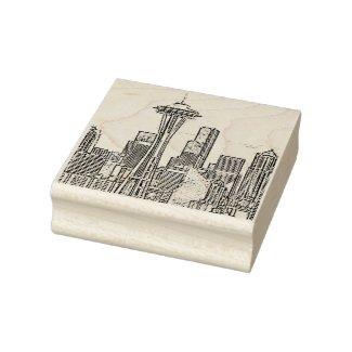 Minimalist Black and White Seattle Skyline Rubber Stamp