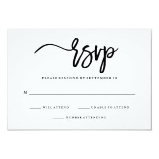 Minimalist Black and White Typography RSVP Card