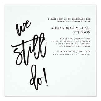 Minimalist Black and White Typography Vow Renewal Card