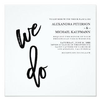 Minimalist Black and White Typography Wedding Invitation