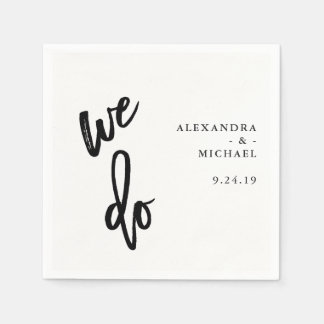 Minimalist Black and White Typography Wedding Napkin