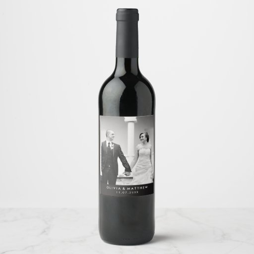 Minimalist Black and White Wedding Photo Wine Label