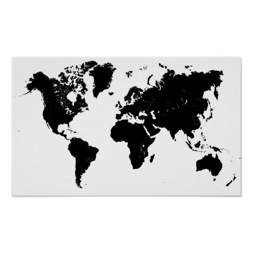 minimalist black and white world map poster zazzle. Black Bedroom Furniture Sets. Home Design Ideas