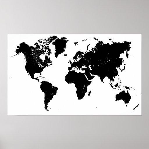 Minimalist black and white world map poster zazzle for Minimal art slideshare