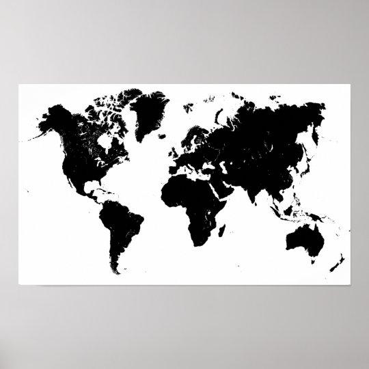 Minimalist Black and White World Map Poster | Zazzle.com