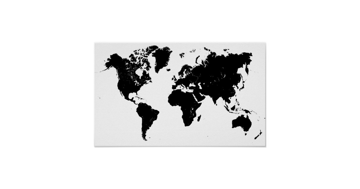 Minimalist black and white world map poster zazzle com