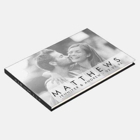 Minimalist Black Modern Photo Wedding Guest Book