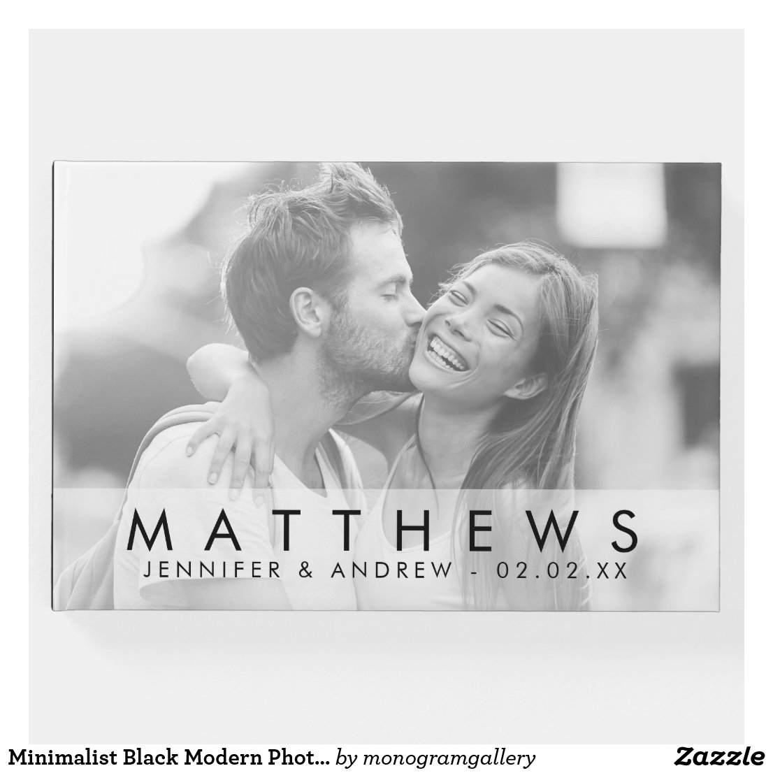 Minimalist Black Modern Photo Wedding Guest Book