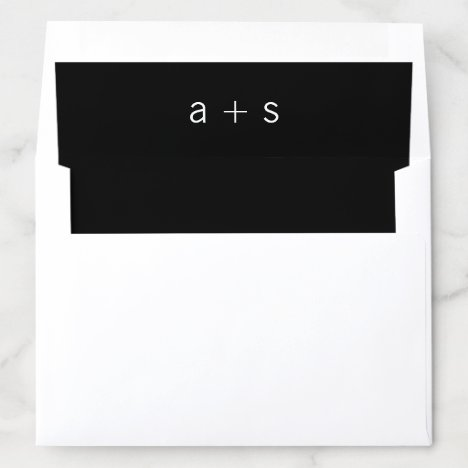 Minimalist Black Monogram Wedding Envelope Liner