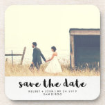 "Minimalist Black Typography Photo Save the Date Drink Coaster<br><div class=""desc"">These stylish coasters are the perfect way to be sure that your guests remember your upcoming wedding date! Modern black typography appears on a white watercolor paper look background, and there is a spot to add your names and wedding date and location. Easily use the template to add your own...</div>"