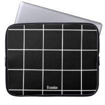 Minimalist Black & White Custom Name Laptop Sleeve
