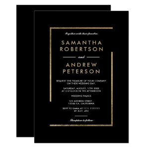 Minimalist black white gold wedding Invitations chic elegant