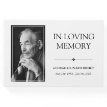 Minimalist Black & White In Loving Memory Photo Guest Book