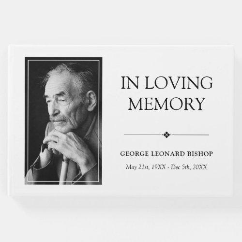Minimalist Black  White In Loving Memory Photo Guest Book