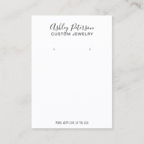 Minimalist black white  jewelry earring display business card