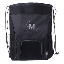 Minimalist Black White Modern Elegant Monogram Drawstring Backpack