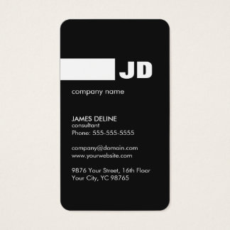 Minimalist Black White Monogram Consultant Business Card