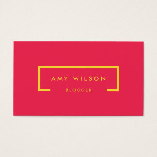 Minimalist Blogger Social Media Bright Pink Yellow Business Card