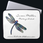 """Minimalist Blue Dragonfly Laptop Sleeve<br><div class=""""desc"""">Modern graphic of a beautiful blue dragonfly on pure white background. A perfect design for any profession.</div>"""