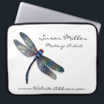 "Minimalist Blue Dragonfly Laptop Sleeve<br><div class=""desc"">Modern graphic of a beautiful blue dragonfly on pure white background. A perfect design for any profession.</div>"
