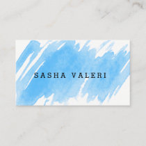 Minimalist Blue Watercolor Business Card