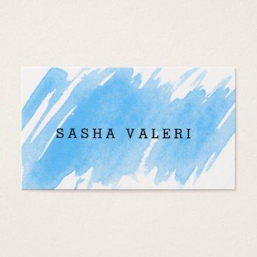 Beach Themed Minimalist Blue Watercolor Business Card