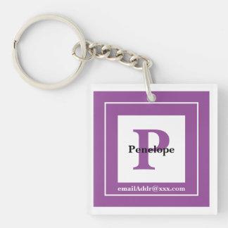 Minimalist - Bold Initials Name and ID Purple Keychain