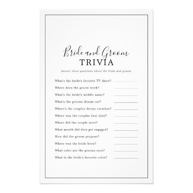 Minimalist Bride and Groom Trivia Game Flyer