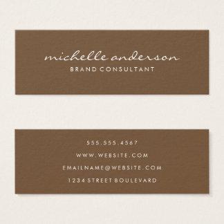 Minimalist Brown Cursive Text Mini Business Card