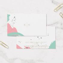Minimalist Brush Strokes Monogram Business Card