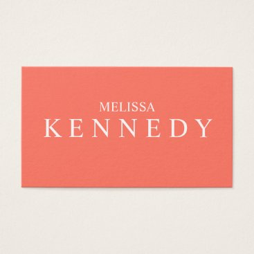 Professional Business Minimalist Business Cards Coral White Font