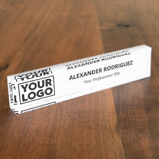 Minimalist Business Company Logo Name Job Title Desk Name Plate