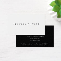 Minimalist Chic Black And White Business Card at Zazzle