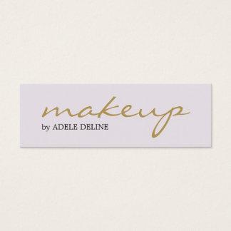 Minimalist Chic Gold White Makeup Artist Mini Business Card