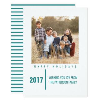 Minimalist Chic Holiday Photo Card   Teal