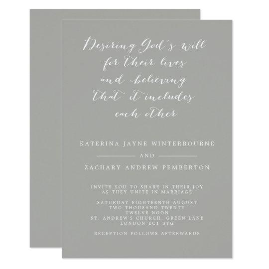 Minimalist Christian Gray And White Script Wedding Invitation