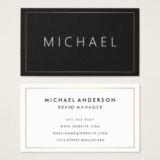 Minimalist Classic Gold Border Black Background Business Card