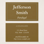 This clean, minimalist, and elegant business card design features a brown background, and a single-line border. It could be used by a professional such as a paralegal, barrister, advocate or notary. The name, profession and contact details can be personalized.