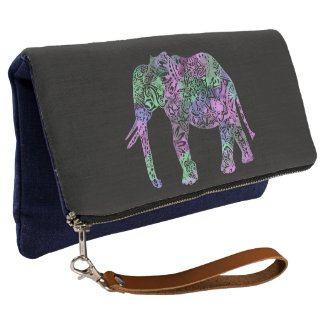 minimalist colorful tribal floral neon elephant clutch