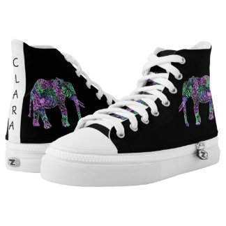 minimalist colorful tribal floral neon elephant High-Top sneakers