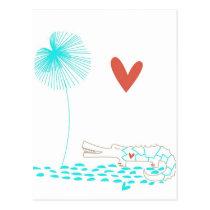 Minimalist Crocodile with heart and aqua flower. Postcard