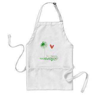 Minimalist Crocodile with heart and green flower. Adult Apron