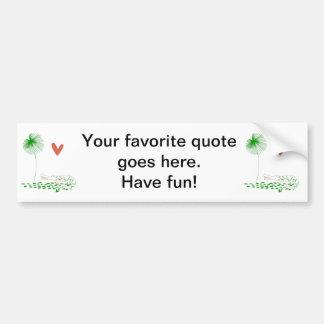Minimalist Crocodile with heart and green flower. Bumper Sticker